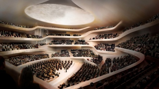 An artist's impression of lbphilharmonie concert hall, Germany.
