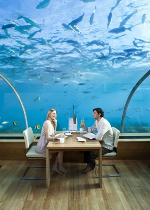 The world's first underwater restaurant is Ithaa, part of the Conrad Maldives Rangali Island resort.