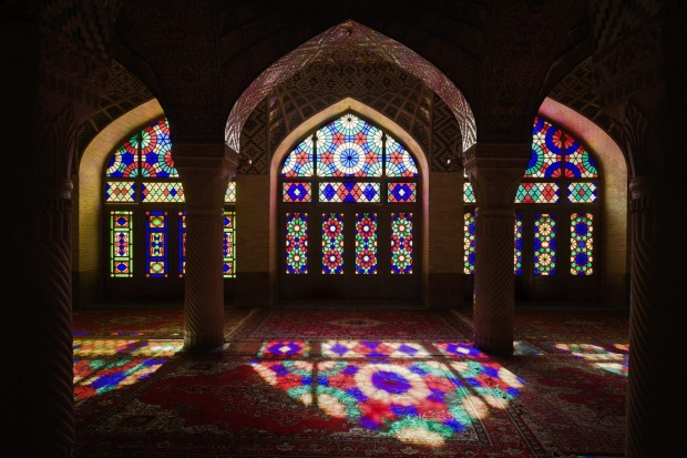 Stained-glass windows inside the winter prayer hall of Nasir-ol-Molk Mosque (Masjed-e Nasir-ol-Molk), Shiraz, Iran.