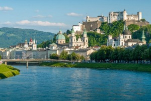 View of Salzburg from the river Salzach.
