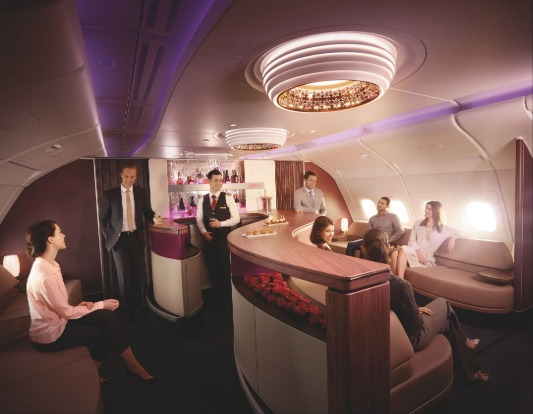 Qatar Airways' A380 lounge.