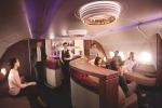 On board Qatar Airways' A380: The lounge is the best place to mix and mingle with your fellow travellers.