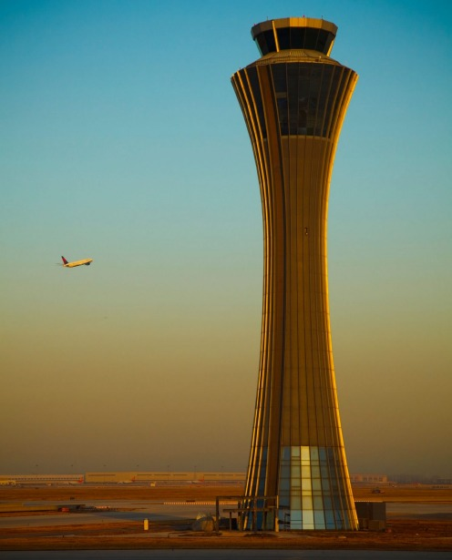 The Air Traffic Control Tower at Beijing International Airport, China.