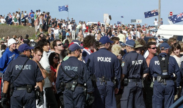 A crowd of at least 5000 - overwhelmingly under 25 - took over Cronulla's foreshore and beachside streets.