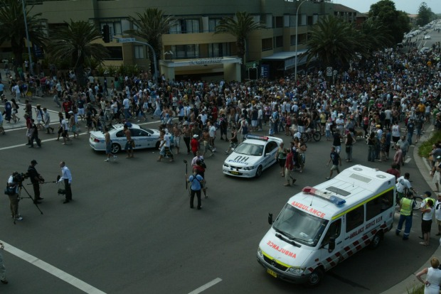 The crowd on the move at North Cronulla beach.