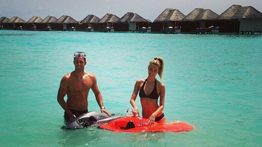 Jennifer Hawkins and Jake Wall on their action-packed honeymoon in the Maldives.