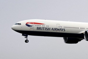 A British Airways flight landing.