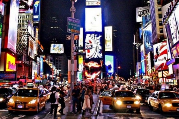 The most geo-tagged location: Times Square in New York.