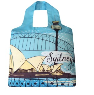 The Sydney shopping bag tucks into its own pocket.