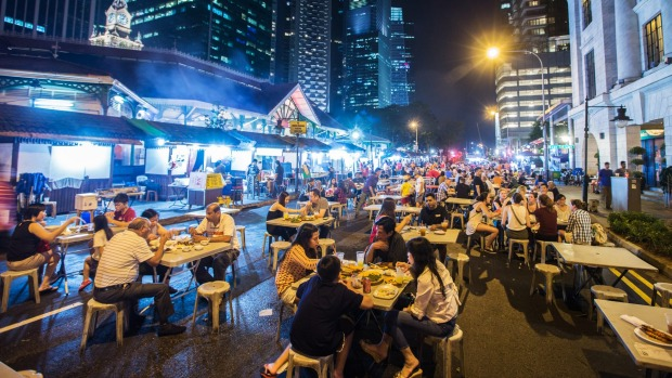 Diners at the Lau Pa Sat food court.
