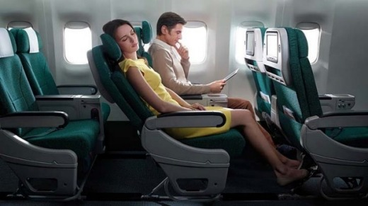 More legroom without the business class price: Cathay Pacific premium economy.