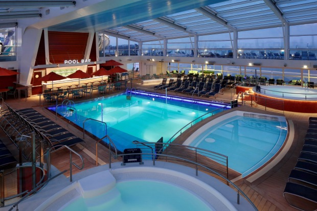 The pool solarium on Ovation of the Seas.
