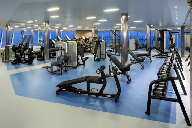 The fitness centre on board.