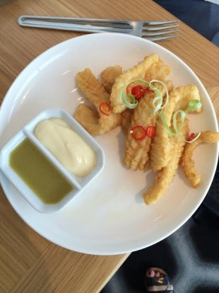 Salt and pepper squid with green chilli dipping sauce and aioli.