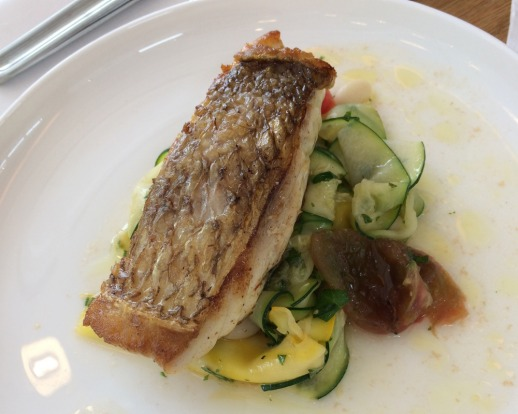 Snapper with warm zucchini, heirloom tomatoes and white bean salad.