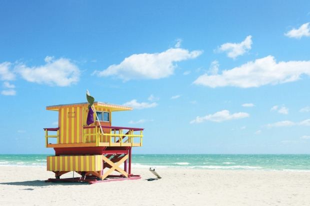 Colourful lifeguard hut, South Beach, Miami.