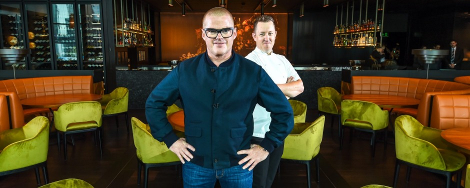 The Age, News, picture by Justin McManus 21/10/2015. Heston Blumenthals Dinner Resturant. Heston with chef Ashley ...