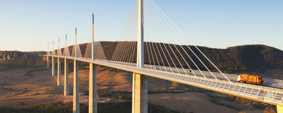 CBDMBC The Millau viaduct spans the Gorge du Tarn in Midi-Pyrenees, France. Credit Alamy str20cover