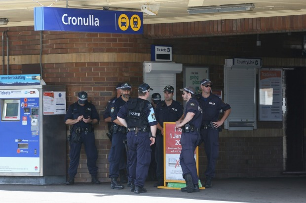 Police patrolling at Cronulla train station.