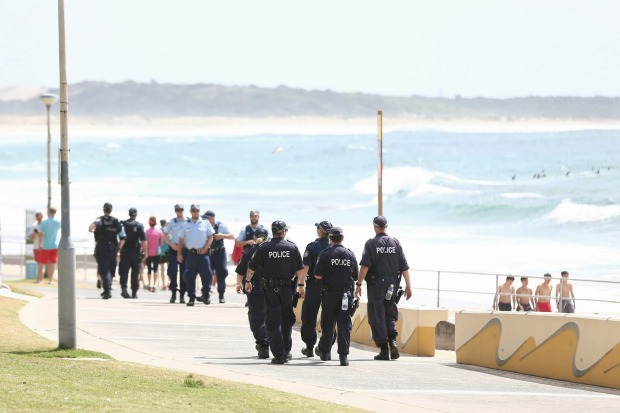 Police patrolling at South Cronulla Beach.