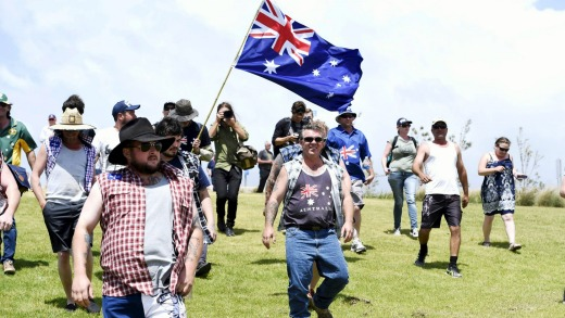 A rally at Don Lucas Reserve in Cronulla, to commemorate the Riots.