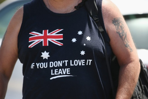 The shirt of a Party for Freedom supporter is seen as they arrive at Wanda beach Cronulla for a BBQ on the 10 year ...