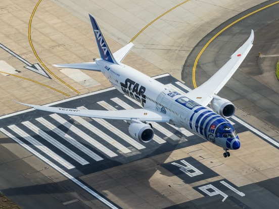 ANA used a 787-9 with Star Wars livery for its first flight to Sydney since the 1990s.