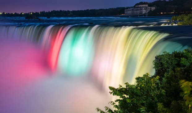 Niagara Falls, spectacular at any time of year -  lit in summer, frozen in winter - is the fifth most checked-in place ...