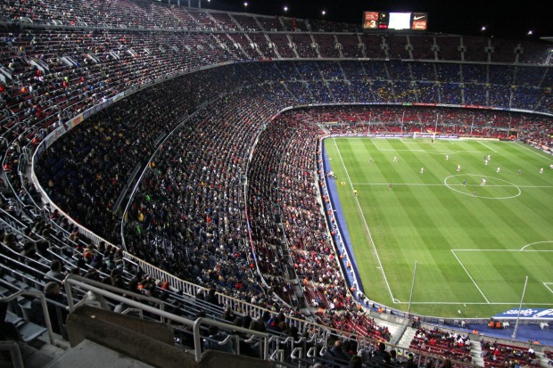 Camp Nou, a huge football stadium in Barcelona, Spain, is the 19th most checked-in place on Facebook.