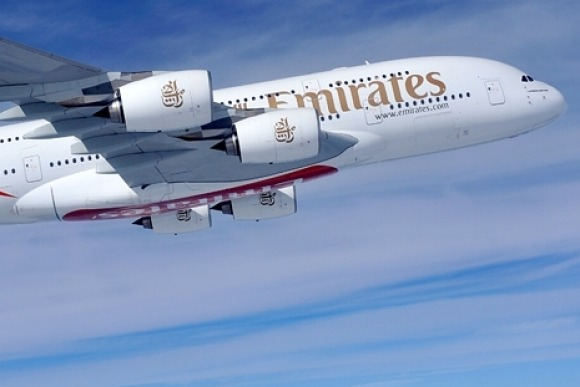 An Emirates A380 superjumbo.