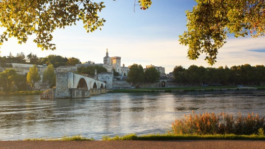 Avignon sits on the bank of the Rhone.