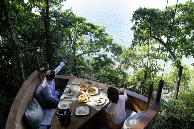 Tree pod dining at Soneva Kiri, Thailand.