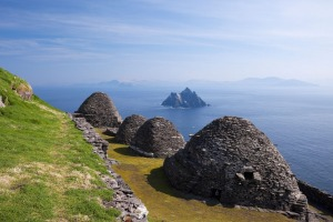 Beehive stone huts of the monastery on Skellig Michael.