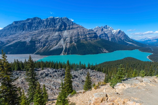 CANADIAN ROCKY MOUNTAINS, CANADA: Easily accessible by vehicle, it is a spectacular glaciated mountain landscape capped ...
