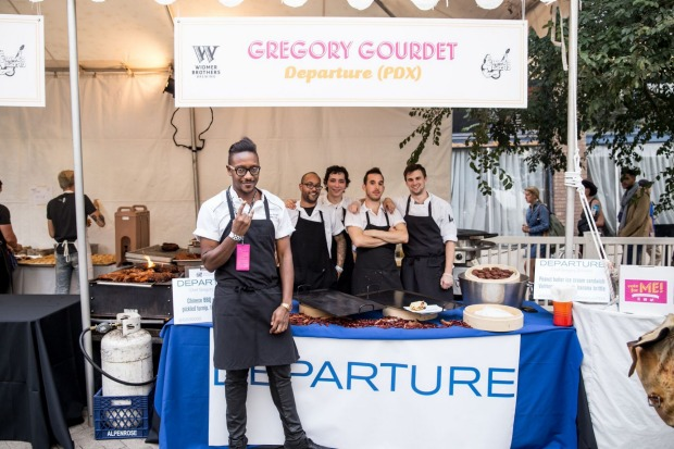 Chef Gregory Gourdet and team from Departure restaurant during the Sandwich Invitational, Portland's Feast Festival, 2015.