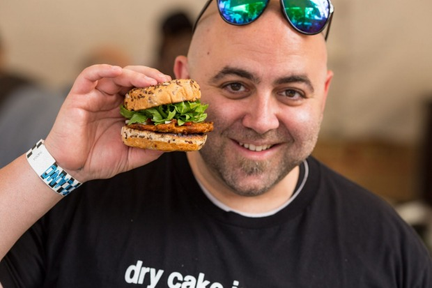 Duff Goldman  - of Charm City Cakes - presents his sandwich for the Sandwich Invitational.