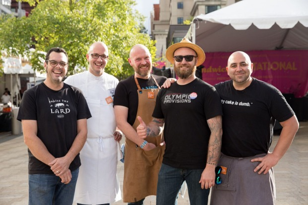 Chefs at the Sandwich Invitational, including Austin's Aaron Franklin (left) of Franklin's barbeque.