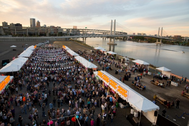 Zidell Yards by the Willamette River for Night Market.