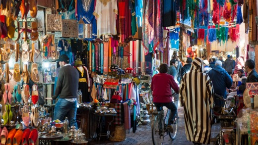 A souk in Marrakesh, Morocco.
