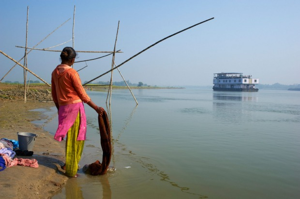 Sukapha boat on the Hooghly river, part of Ganges river in West Bengal, India.