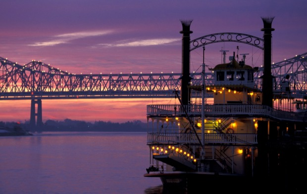 The Cajun Queen on the Mississippi River at sunrise New Orleans, Louisiana, US.