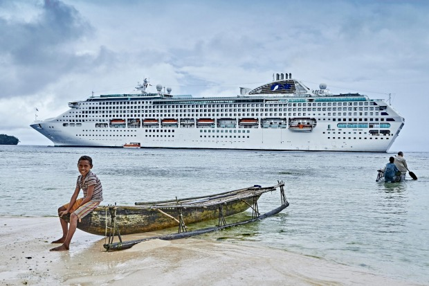 The Sun Princess at Kiriwina Island, Papua New Guinea.