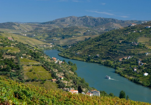Cruise ship pass through Douro valley near Peso da Regua, the Alto Douro, Portugal.