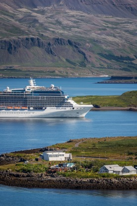 Cruise ship sails into Reykjavik Harbor, Iceland.