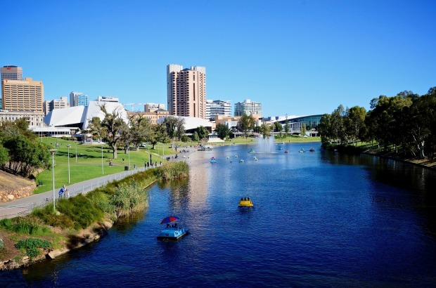 Linear Park follows the River Torrens from Athelstone through the city, shown here, right to Henley Beach.