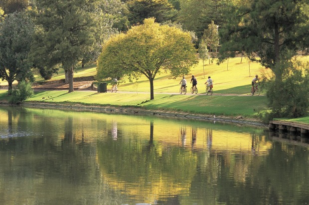 The Linear Park trail along the River Torrens, here in the city.