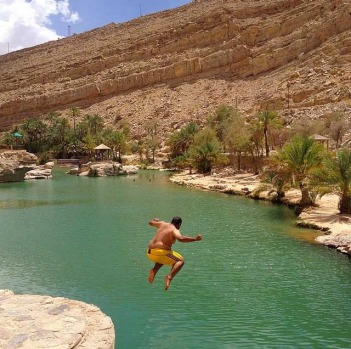 If you see a natural swimming hole like this, how can't you want to strip off and jump in! This is Wadi Bani Khalid, ...