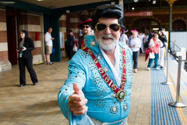 Ken Keith, mayor of Parkes, is about to board the Elvis Express at Central Station for the Parkes Elvis Festival.