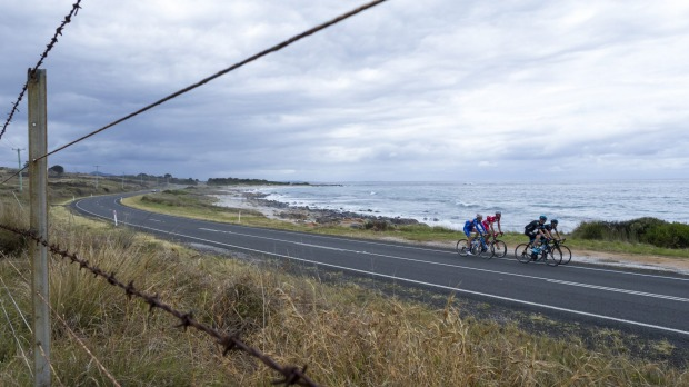 The nearness of scenery rewards cyclists on the East Coast of Tasmania.
