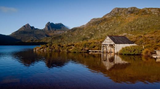 A wooden boatshed near Cradle Mountain, Tasmania.